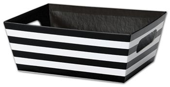 Black and White Stripes Market Trays, 9 x 7 x 3 1/2