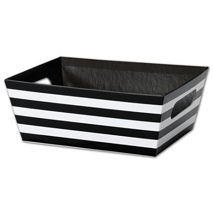 Black and White Stripes Market Trays, 9 x 7 x 3 1/2""