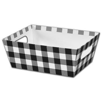 Black & White Plaid Market Trays, 9 x 7 x 3 1/2