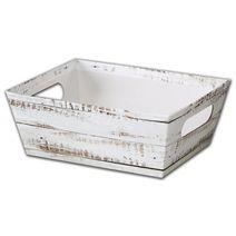 "Distressed White Wood Market Trays, 9 x 7 x 3 1/2"""