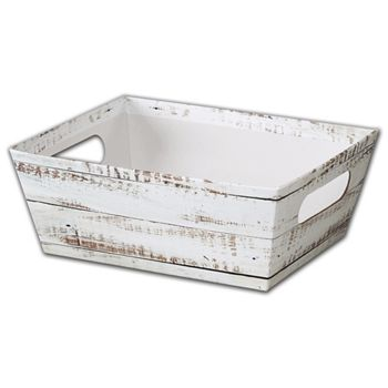 Distressed White Wood Market Trays, 9 x 7 x 3 1/2