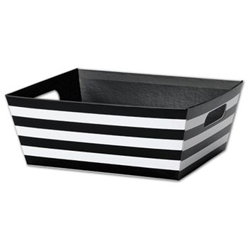 Black and White Stripes Market Trays, 12 x 9 1/2 x 4 1/2