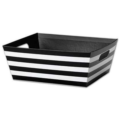 Black and White Stripes Market Trays, 12 x 9 1/2 x 4 1/2""