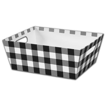 Black & White Plaid Market Trays, 12 x 9 1/2 x 4 1/2