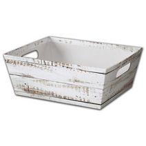 "Distressed White Wood Market Trays, 12 x 9 1/2 x 4 1/2"""
