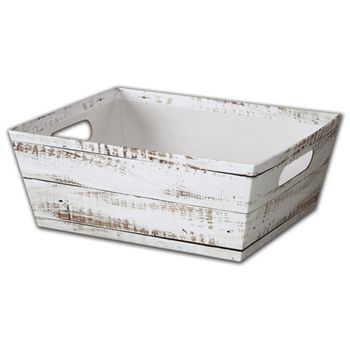 Distressed White Wood Market Trays, 12 x 9 1/2 x 4 1/2
