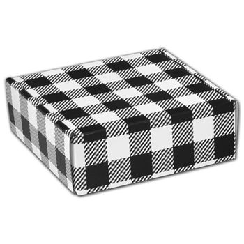 Black & White Plaid Decorative Mailers, 6 x 6 x 2""