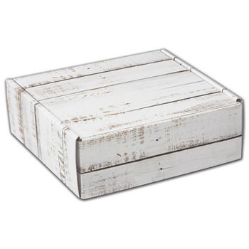 Distressed White Wood Decorative Mailers, 6 x 6 x 2