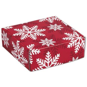 Red & White Snowflakes Decorative Mailers, 6 x 6 x 2""