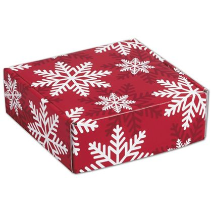 """Red & White Snowflakes Decorative Mailers, 6 x 6 x 2"""""""