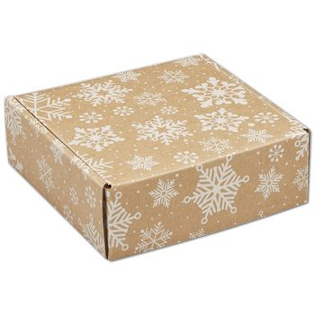Kraft Snowflakes Decorative Mailers, 6 x 6 x 2""