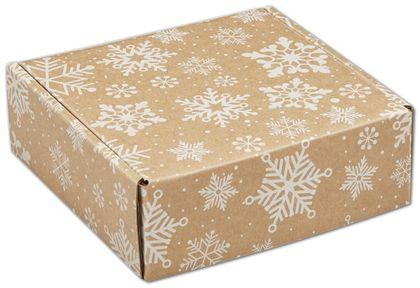 "Kraft Snowflakes Decorative Mailers, 6 x 6 x 2"""
