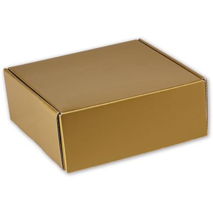 "Gold Metallic Decorative Mailers, 8 x 8 x 3"""