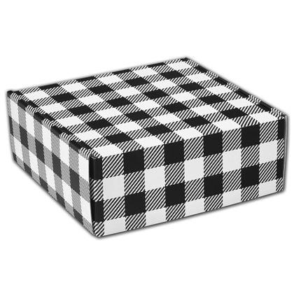 "Black & White Plaid Decorative Mailers, 8 x 8 x 3"""