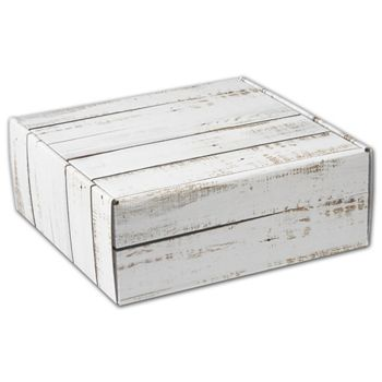 Distressed White Wood Decorative Mailers, 8 x 8 x 3