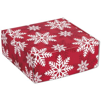 """Red & White Snowflakes Decorative Mailers, 8 x 8 x 3"""""""