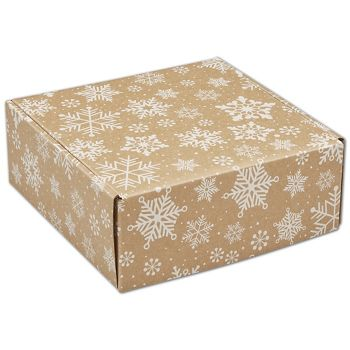 Kraft Snowflakes Decorative Mailers, 8 x 8 x 3