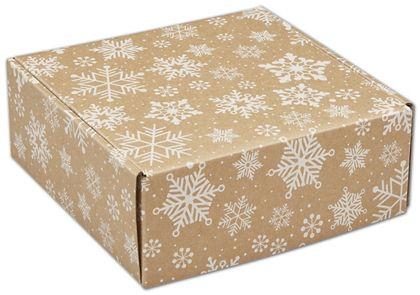 "Kraft Snowflakes Decorative Mailers, 8 x 8 x 3"""