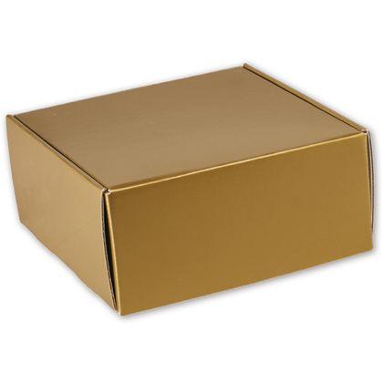 "Gold Metallic Decorative Mailers, 9 x 9 x 4"""