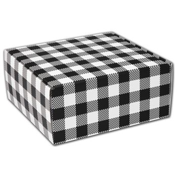 Black & White Plaid Decorative Mailers, 9 x 9 x 4