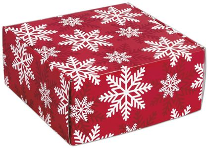 Red & White Snowflakes Decorative Mailers, 9 x 9 x 4""