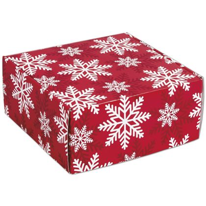 """Red & White Snowflakes Decorative Mailers, 9 x 9 x 4"""""""