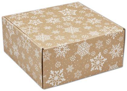 "Kraft Snowflakes Decorative Mailers, 9 x 9 x 4"""