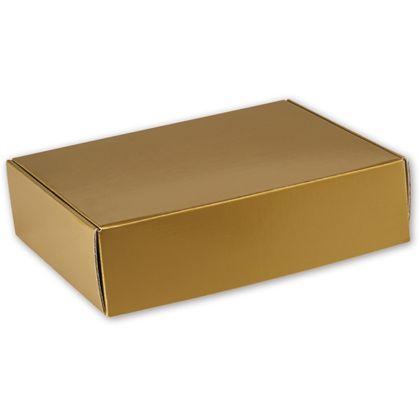"Gold Metallic Decorative Mailers, 12 x 9 x 3"""