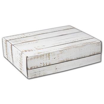 Distressed White Wood Decorative Mailers, 12 x 9 x 3