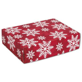 Red & White Snowflakes Decorative Mailers, 12 x 9 x 3
