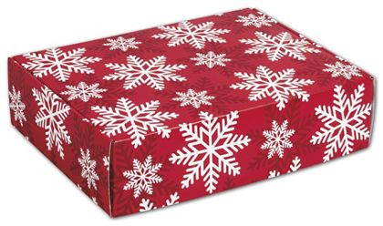 Red & White Snowflakes Decorative Mailers, 12 x 9 x 3""