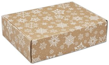 Kraft Snowflakes Decorative Mailers, 12 x 9 x 3