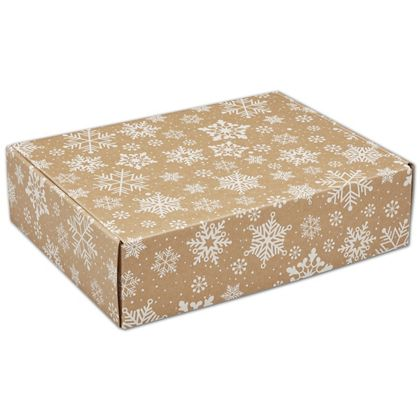 Kraft Snowflakes Decorative Mailers, 12 x 9 x 3""
