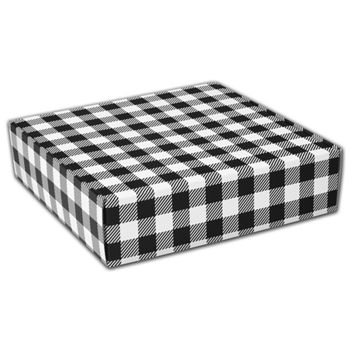 Black & White Plaid Decorative Mailers, 12 x 12 x 3