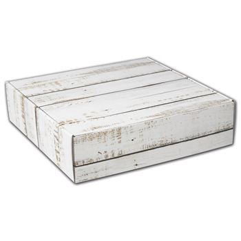 Distressed White Wood Decorative Mailers, 12 x 12 x 3