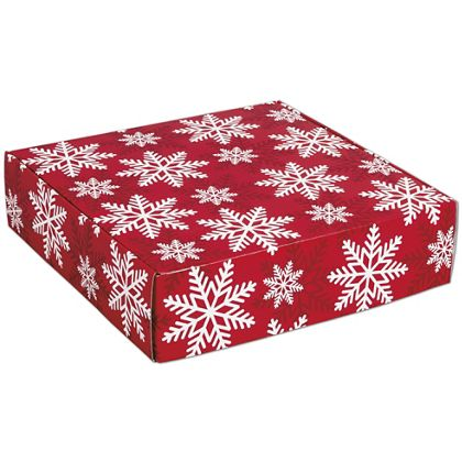 Red & White Snowflakes Decorative Mailers, 12 x 12 x 3""