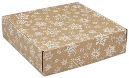 Kraft Snowflakes Decorative Mailers, 12 x 12 x 3""