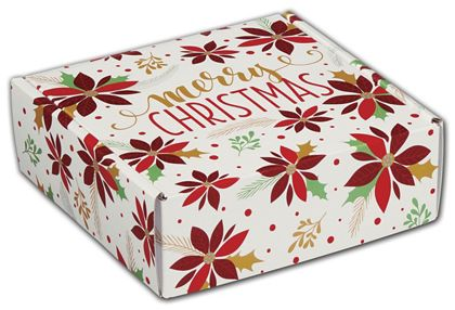 "Christmas Poinsettia Decorative Mailers, 6 x 6 x 2"""