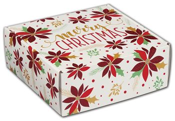 Christmas Poinsettia Decorative Mailers, 8 x 8 x 3