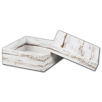 Distressed White Wood Rigid Gourmet Boxes, Medium