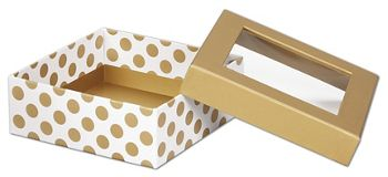Metallic Gold Dots Rigid Gourmet Window Boxes, Medium