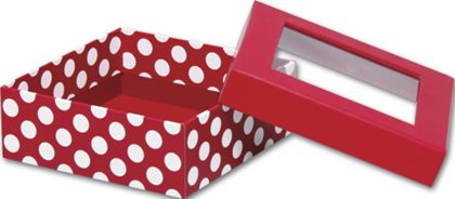 Red and White Dots Rigid Gourmet Window Boxes, Medium