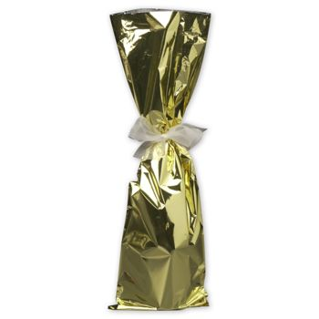 Gold Mylar Wine Bag, 6 1/2 x 20""
