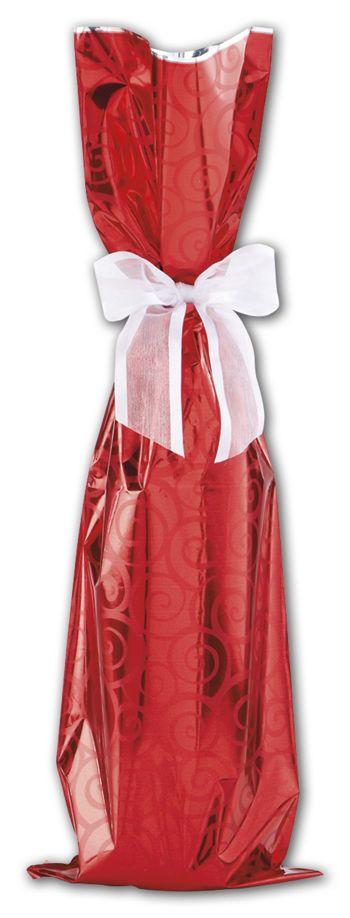 Red Mylar Wine Bag, 6 1/2 x 20