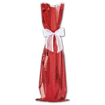 Red Mylar Wine Bag, 6 1/2 x 20