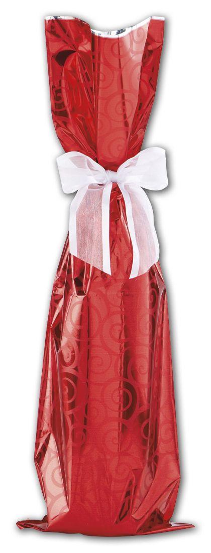 """Red Mylar Wine Bag, 6 1/2 x 20"""""""