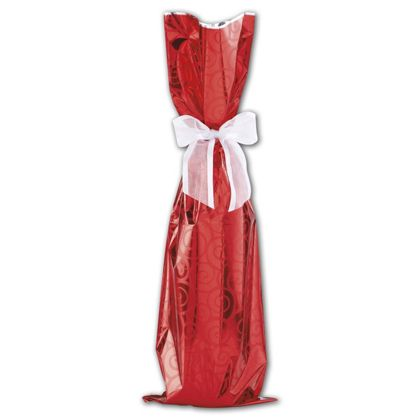 Red Mylar Wine Bag, 6 1/2 x 20""