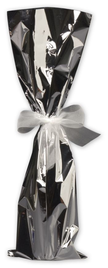 Silver Mylar Wine Bag, 6 1/2 x 20