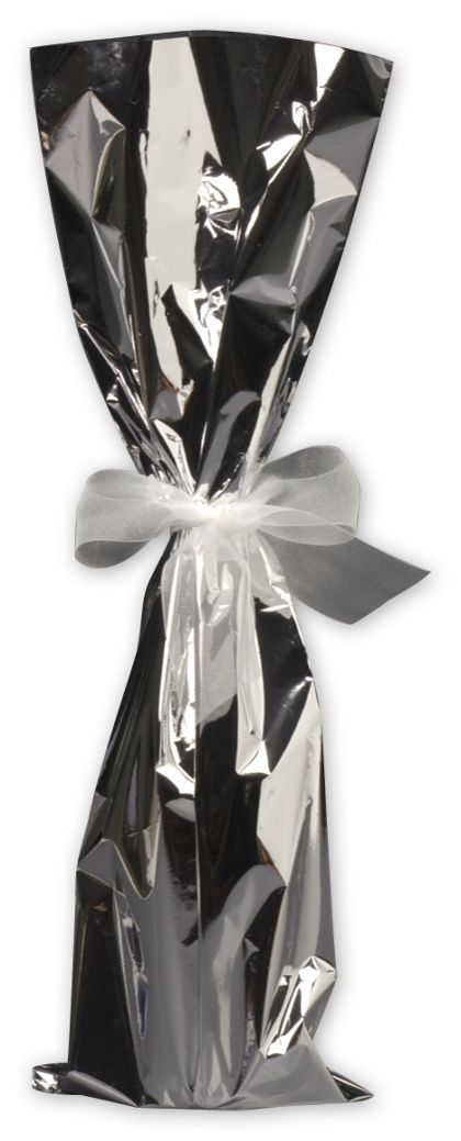 Silver Mylar Wine Bag, 6 1/2 x 20""