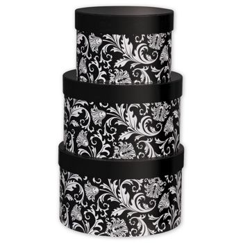 Damask 3-Piece Nested Box Sets, Round